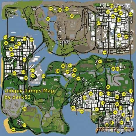 Mapa da única saltos no GTA San Andreas