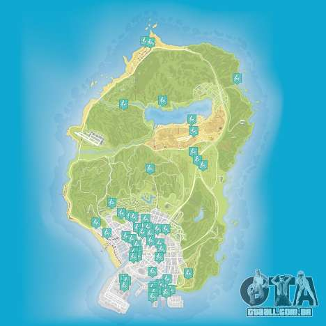 Mapa de stunt jumps em Grand Theft Auto 5