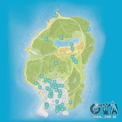 Mapa de stunt jumps em Grand Theft Auto 5