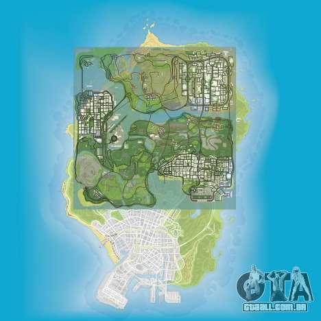 uma comparação do tamanho dos mapas do GTA 5 e GTA San Andreas
