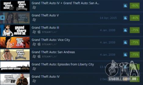 Enormes descontos em Grand Theft Auto jogos