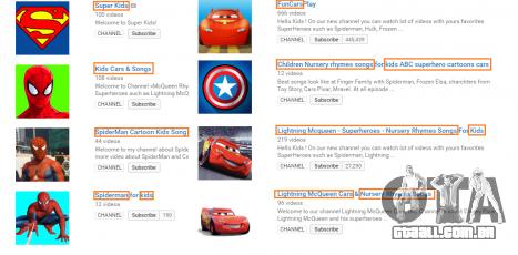 Exemplos de canais no YouTube, com vídeos de GTA 5