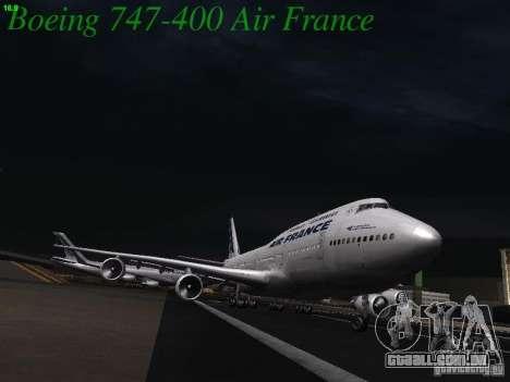 Boeing 747-400 Air France para GTA San Andreas vista interior