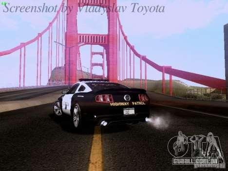 Ford Mustang GT 2011 Police Enforcement para GTA San Andreas vista traseira