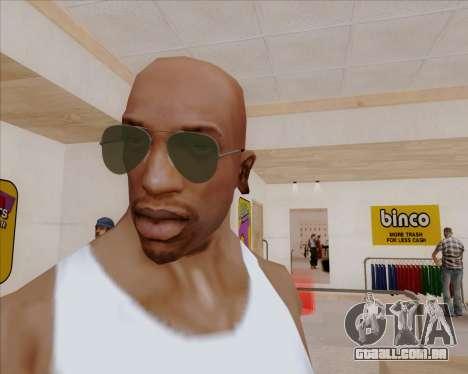 Óculos de sol verdes aviadores para GTA San Andreas segunda tela