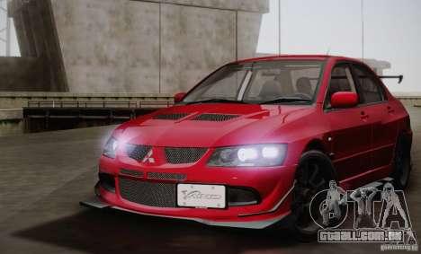 Mitsubishi Lancer Evolution VIII MR Edition para GTA San Andreas traseira esquerda vista