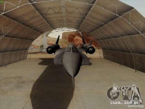 YF-12A para GTA San Andreas vista interior