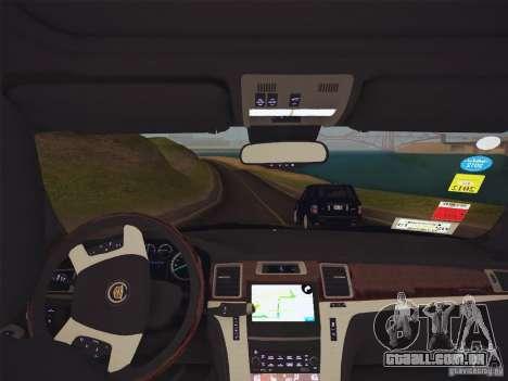 Cadillac Escalade ESV 2012 para GTA San Andreas vista traseira