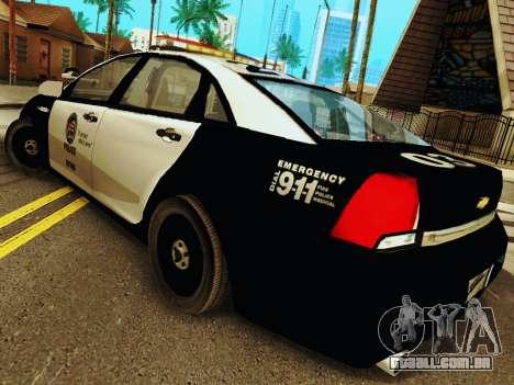 Chevrolet Caprice 2011 Police para GTA San Andreas traseira esquerda vista
