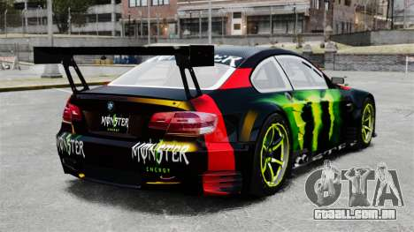 BMW M3 (E90) 2008 Monster Energy v1.2 para GTA 4 traseira esquerda vista