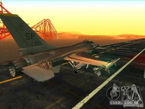 F-16C Fighting Falcon para GTA San Andreas vista direita