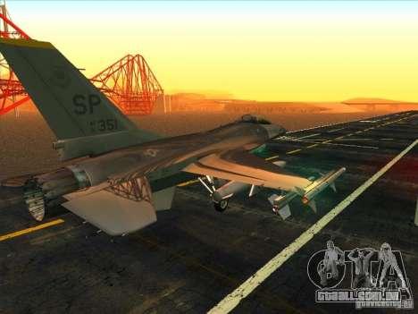 F-16C Fighting Falcon para GTA San Andreas vista direita