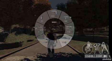 GTA 5 Weapon Wheel HUD para GTA 4 por diante tela