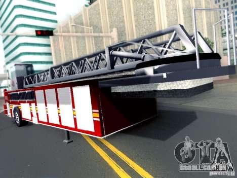 Reboque para caminhão Seagrave Tiller para GTA San Andreas traseira esquerda vista