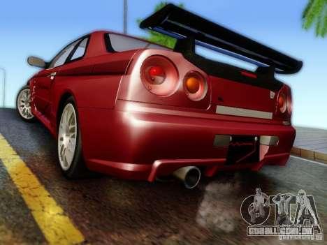 Nissan R34 Skyline GT-R para GTA San Andreas esquerda vista