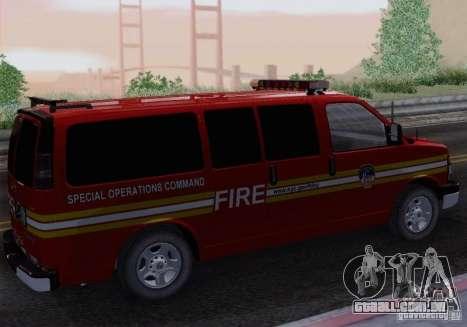 Chevrolet Express Special Operations Command para GTA San Andreas esquerda vista