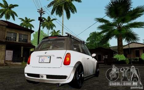 Mini Cooper S Tuned para GTA San Andreas vista direita
