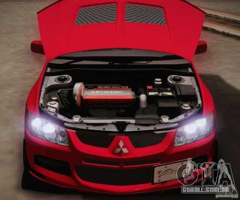 Mitsubishi Lancer Evolution VIII MR Edition para GTA San Andreas vista interior