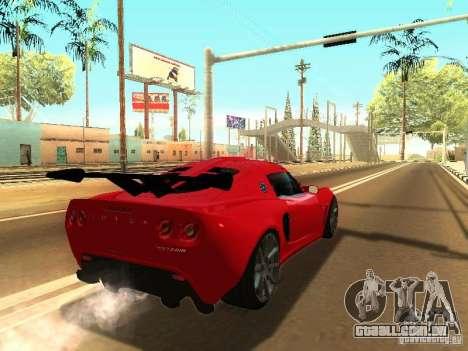 Lotus Exige 240R para GTA San Andreas traseira esquerda vista