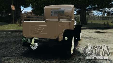 Ford Model A Pickup 1930 para GTA 4 traseira esquerda vista