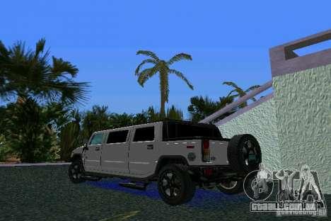 Hummer H2 SUT Limousine para GTA Vice City deixou vista