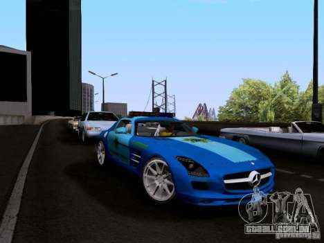 Mercedes-Benz SLS AMG Blue SCPD para GTA San Andreas vista direita
