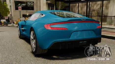 Aston Martin One-77 para GTA 4 traseira esquerda vista