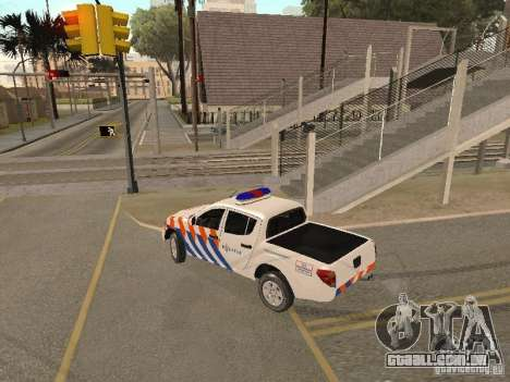 Mitsubishi L200 Police para GTA San Andreas esquerda vista