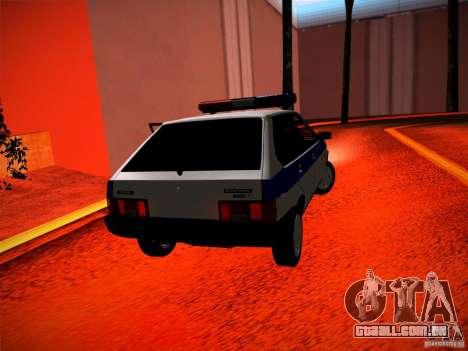 Polícia Vaz 2109 para GTA San Andreas traseira esquerda vista