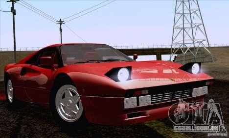 Ferrari 288 GTO 1984 para GTA San Andreas traseira esquerda vista