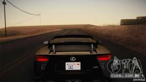 Lexus LFA (US-Spec) 2011 para GTA San Andreas traseira esquerda vista