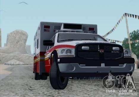 Dodge Ram Ambulance para GTA San Andreas vista inferior