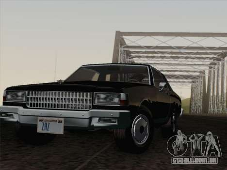 Chevrolet Caprice 1986 para GTA San Andreas vista inferior