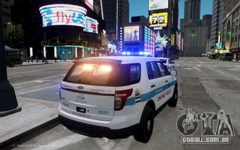 Ford Explorer Chicago Police 2013 para GTA 4 traseira esquerda vista