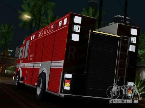 Pierce Contender LAFD Rescue 42 para GTA San Andreas traseira esquerda vista