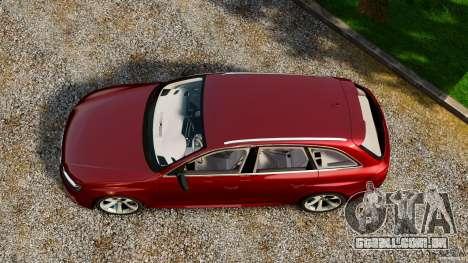 Audi RS4 Avant 2013 para GTA 4 vista direita