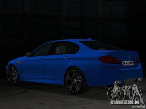 BMW M5 F10 2012 para GTA Vice City vista traseira esquerda