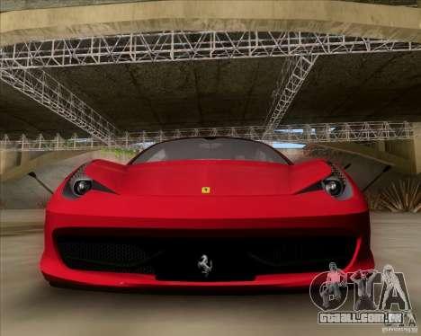Ferrari 458 Italia V12 TT Black Revel para GTA San Andreas esquerda vista