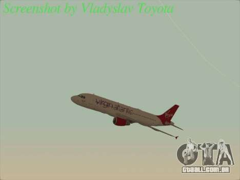 Airbus A320-211 Virgin Atlantic para vista lateral GTA San Andreas