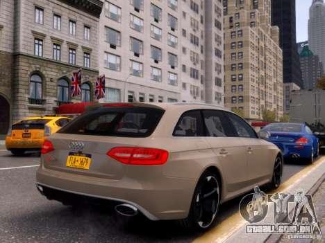 Audi RS4 Avant 2013 para GTA 4 vista de volta