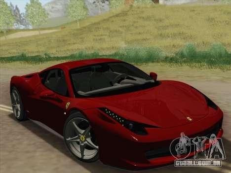 Ferrari 458 Italia 2010 para GTA San Andreas vista inferior