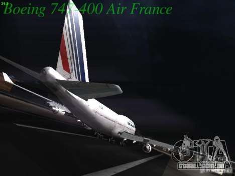 Boeing 747-400 Air France para GTA San Andreas vista traseira