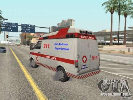 Ford Transit Ambulance para GTA San Andreas traseira esquerda vista