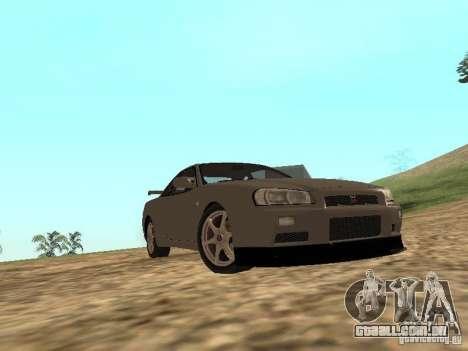 Nissan Skyline GTR R34 para GTA San Andreas vista interior