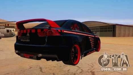 Mitsubishi Lancer Evolution X Pro Street para GTA San Andreas vista direita