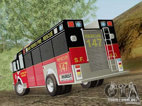 Pierce SFFD Rescue para GTA San Andreas vista superior