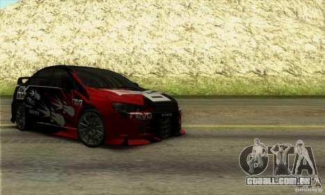 Mitsubishi Lancer Evolution X 2008 para GTA San Andreas vista traseira