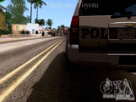 Chevrolet Tahoe 2007 NYPD para vista lateral GTA San Andreas