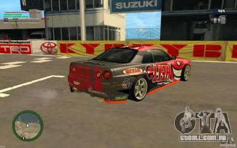 Nissan Skyline R34 Hell Energy para GTA San Andreas esquerda vista
