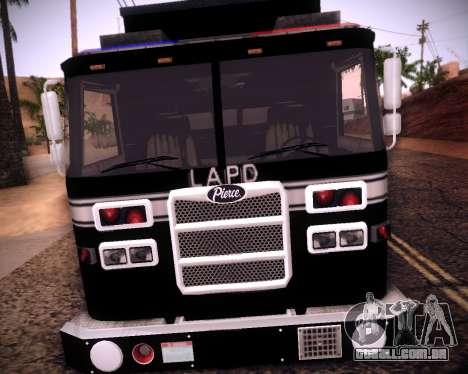 Pierce Contendor LAPD SWAT para GTA San Andreas esquerda vista